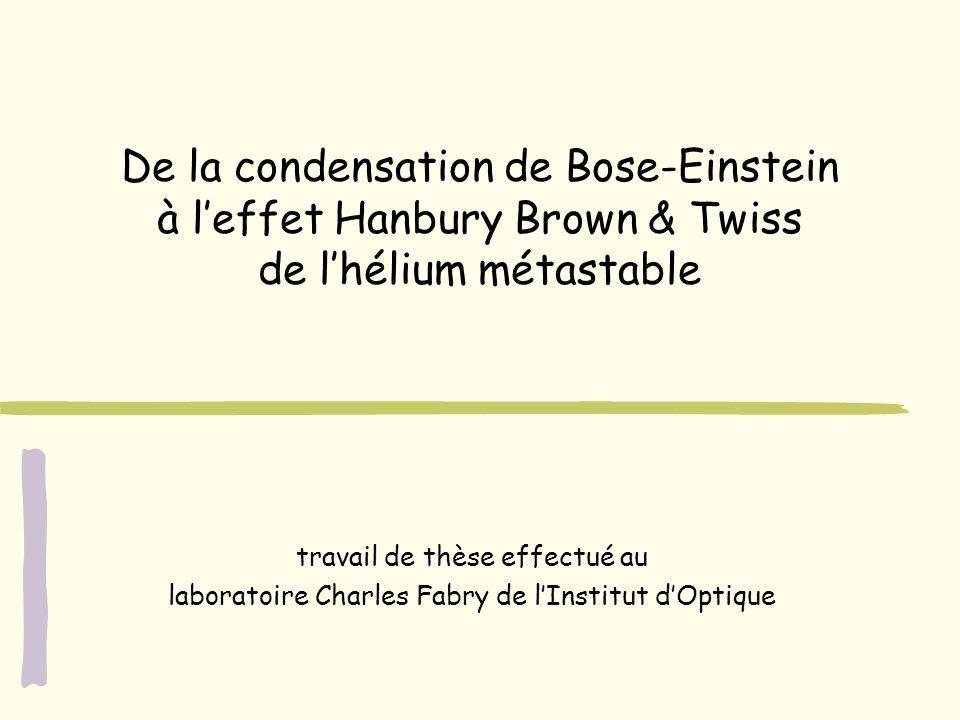 De la condensation de Bose-Einstein à l'effet Hanbury Brown & Twiss de l'hélium métastable