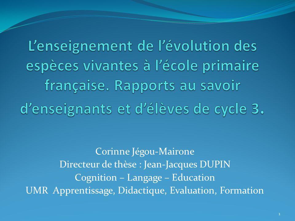 L'enseignement de l'évolution des espèces vivantes à l'école primaire française. Rapports au savoir d'enseignants et d'élèves de cycle 3.