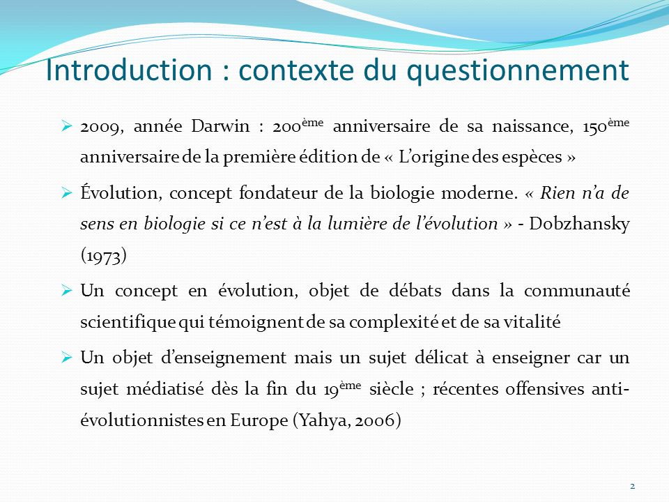 Introduction : contexte du questionnement