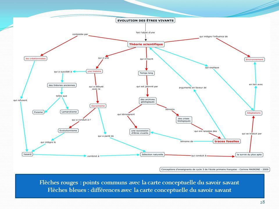 Flèches rouges : points communs avec la carte conceptuelle du savoir savant