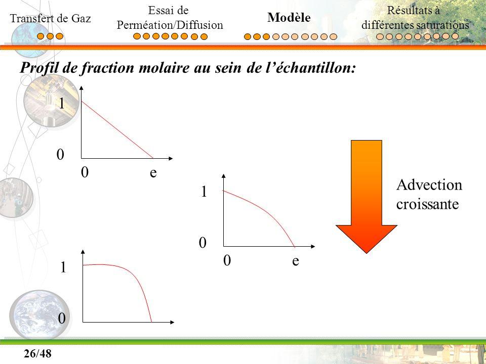 Profil de fraction molaire au sein de l'échantillon: