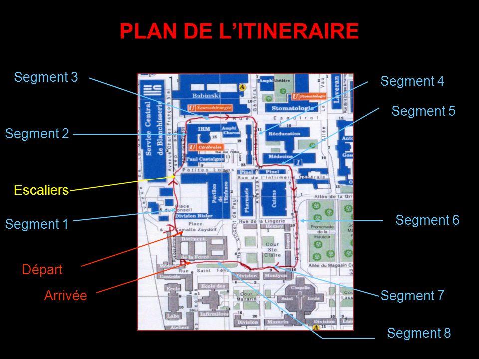 PLAN DE L'ITINERAIRE Segment 3 Segment 4 Segment 5 Segment 2 Escaliers