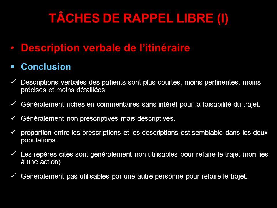 TÂCHES DE RAPPEL LIBRE (I)