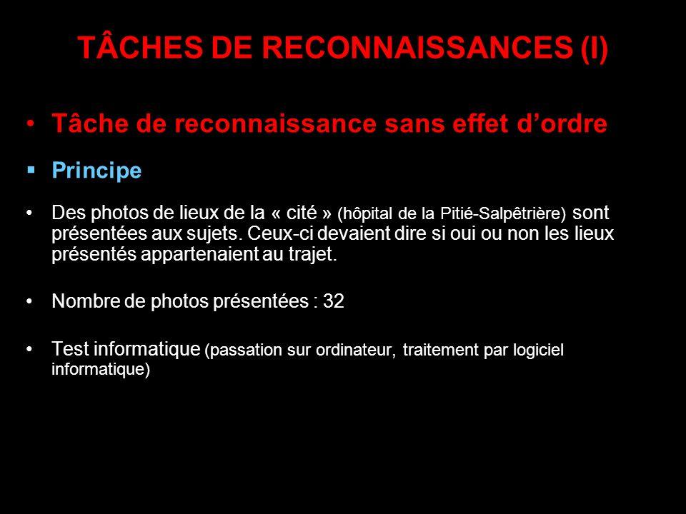 TÂCHES DE RECONNAISSANCES (I)