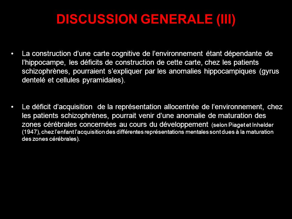 DISCUSSION GENERALE (III)