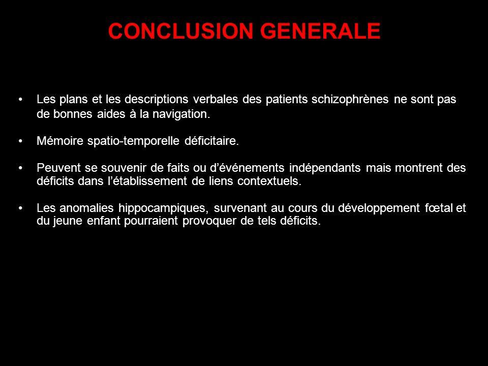 CONCLUSION GENERALE Les plans et les descriptions verbales des patients schizophrènes ne sont pas de bonnes aides à la navigation.