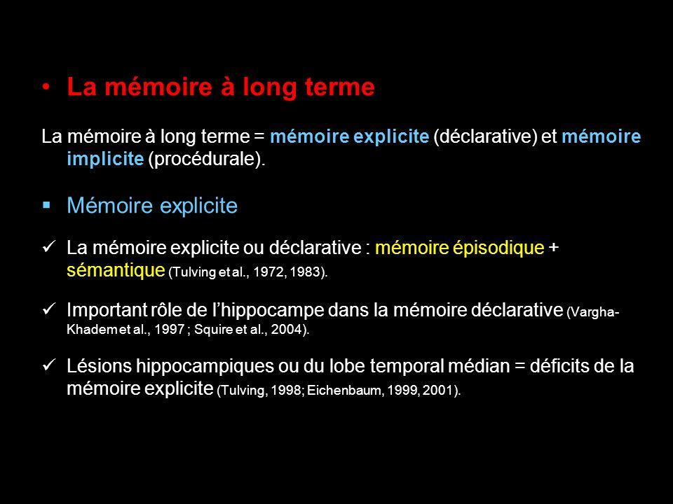 La mémoire à long terme Mémoire explicite