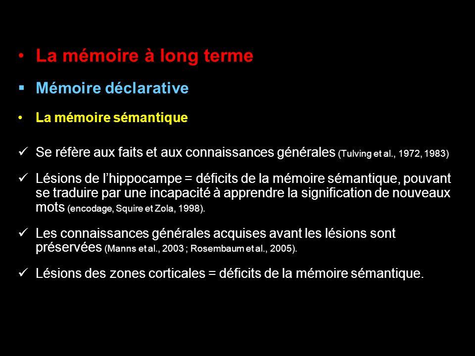 La mémoire à long terme Mémoire déclarative La mémoire sémantique