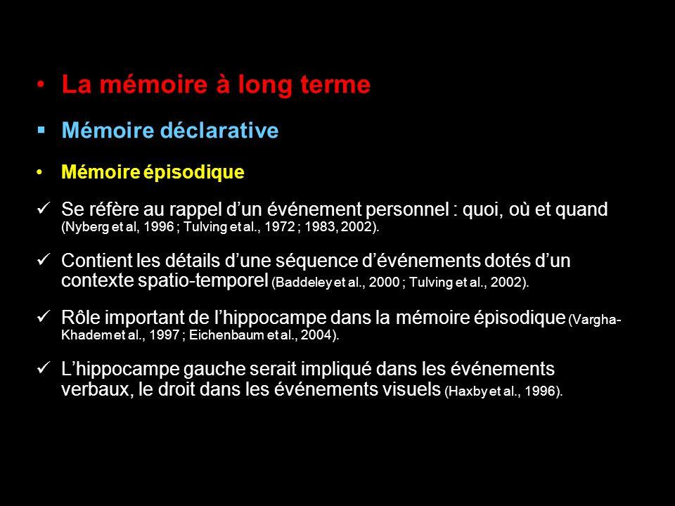 La mémoire à long terme Mémoire déclarative Mémoire épisodique