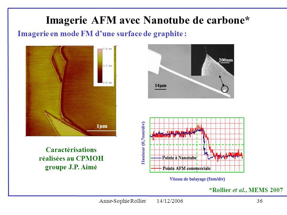 Imagerie AFM avec Nanotube de carbone*