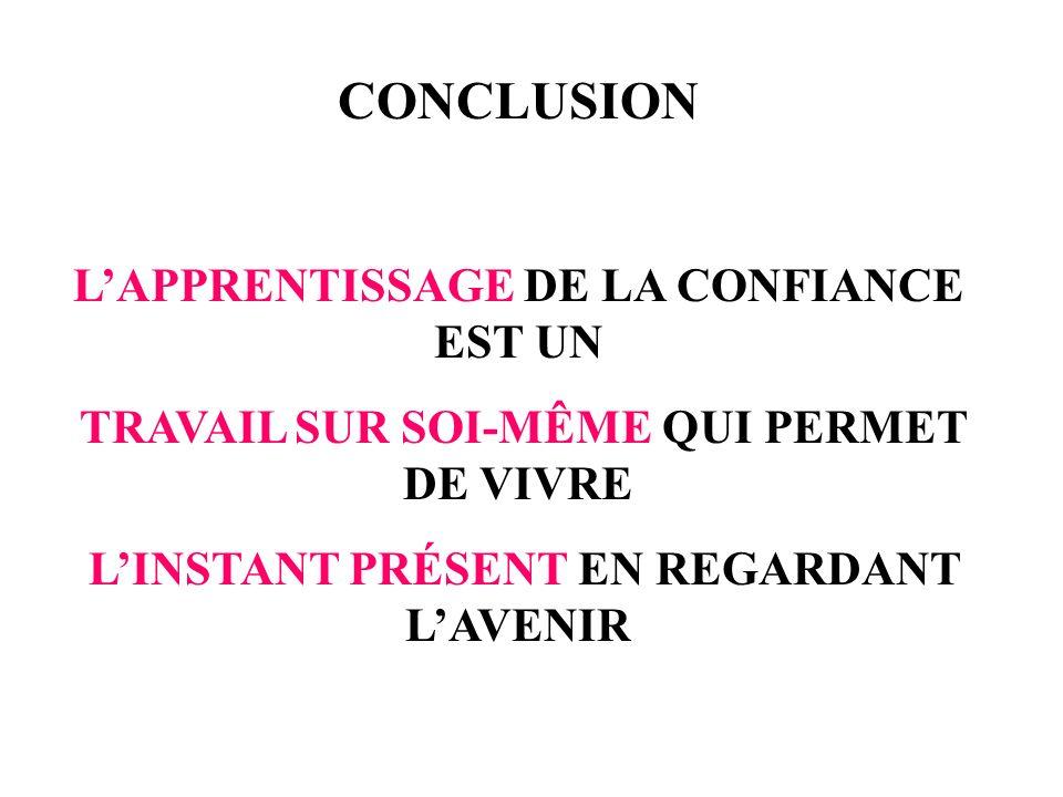 CONCLUSION L'APPRENTISSAGE DE LA CONFIANCE EST UN