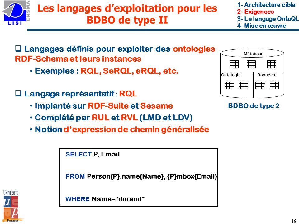 Les langages d'exploitation pour les BDBO de type II