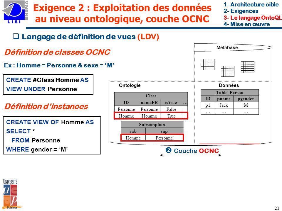 Exigence 2 : Exploitation des données au niveau ontologique, couche OCNC
