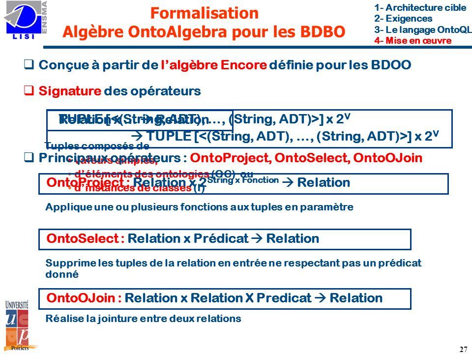 Formalisation Algèbre OntoAlgebra pour les BDBO
