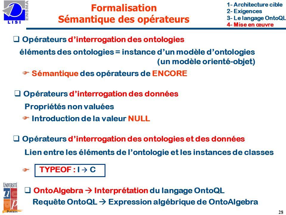 Formalisation Sémantique des opérateurs
