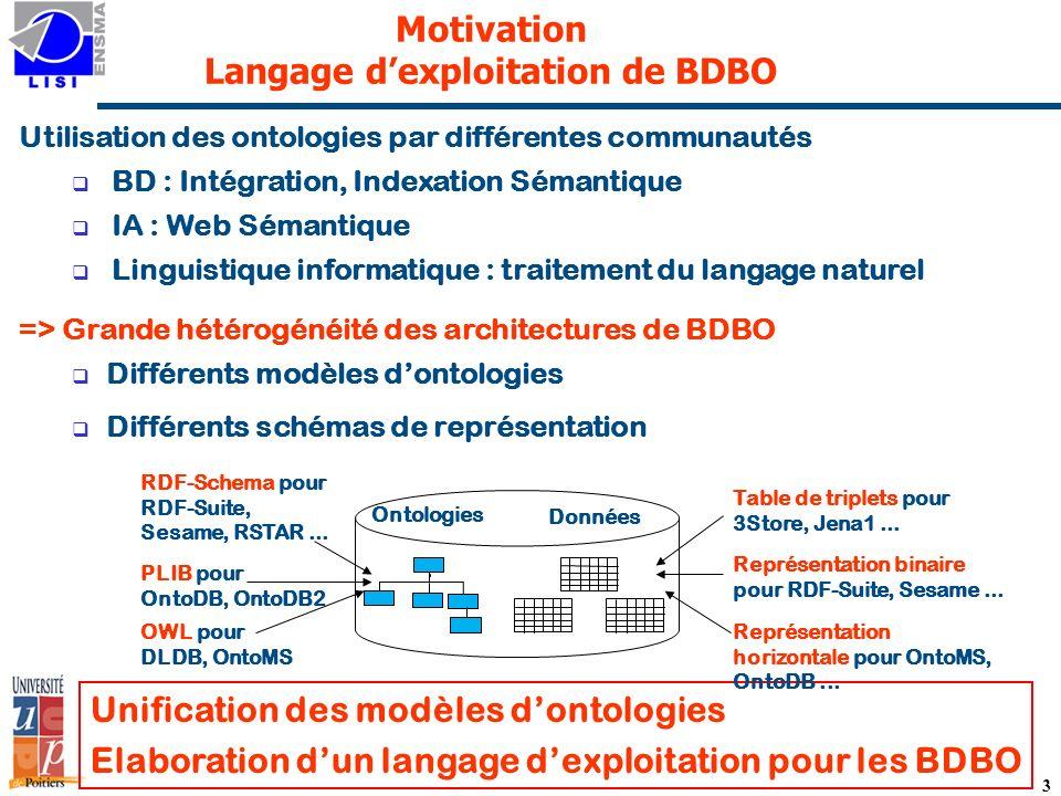 Motivation Langage d'exploitation de BDBO