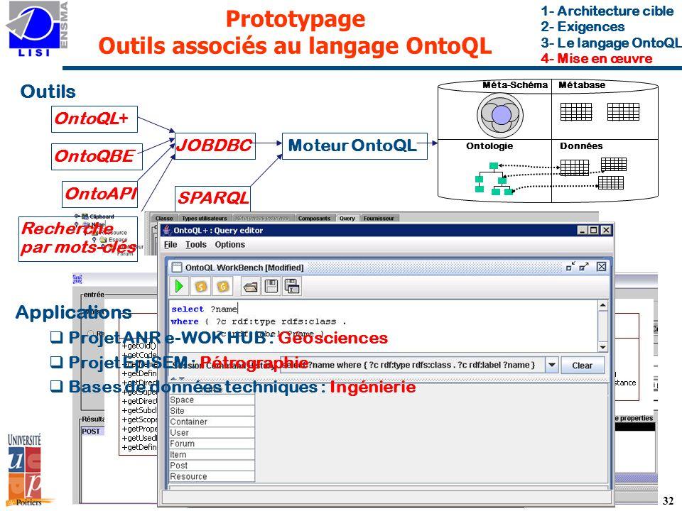 Prototypage Outils associés au langage OntoQL