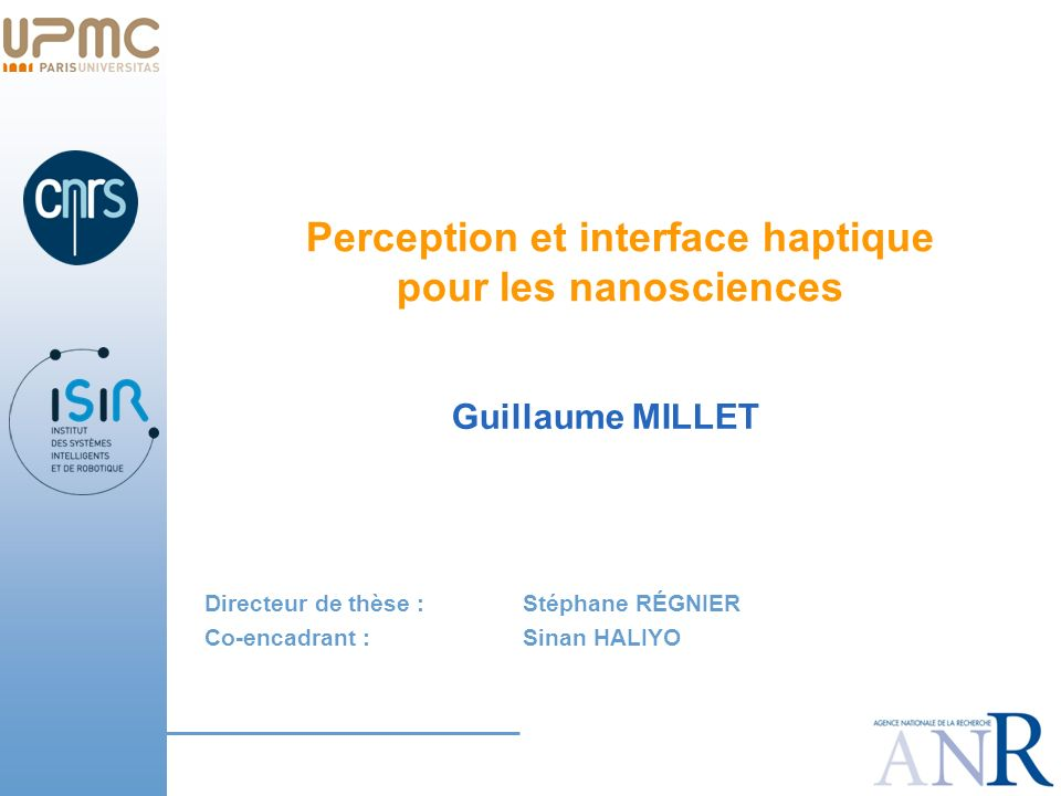 Perception et interface haptique pour les nanosciences
