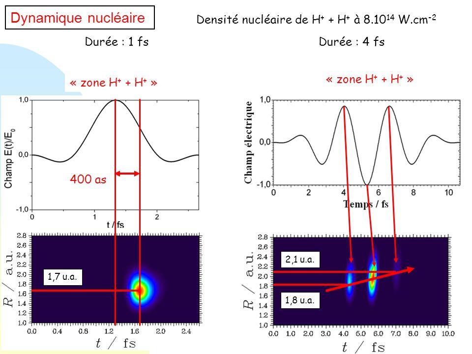 Dynamique nucléaire Densité nucléaire de H+ + H+ à 8.1014 W.cm-2