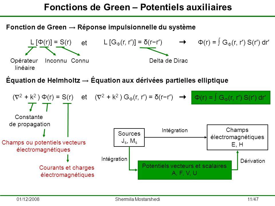 Fonctions de Green – Potentiels auxiliaires