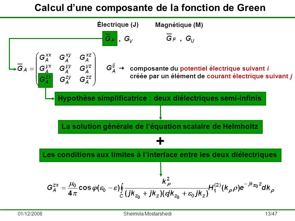 Calcul d'une composante de la fonction de Green