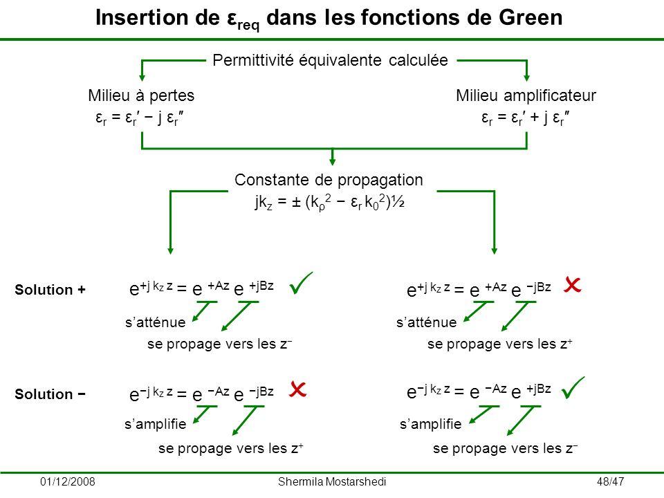 Insertion de εreq dans les fonctions de Green