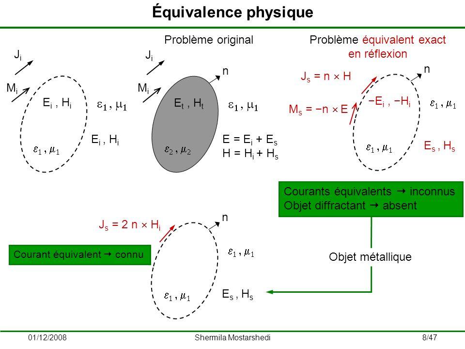 Équivalence physique 1 , m1 Ji Mi n 2 , m2 Et , Ht E = Ei + Es