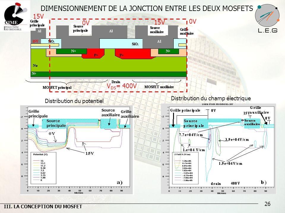DIMENSIONNEMENT DE LA JONCTION ENTRE LES DEUX MOSFETS