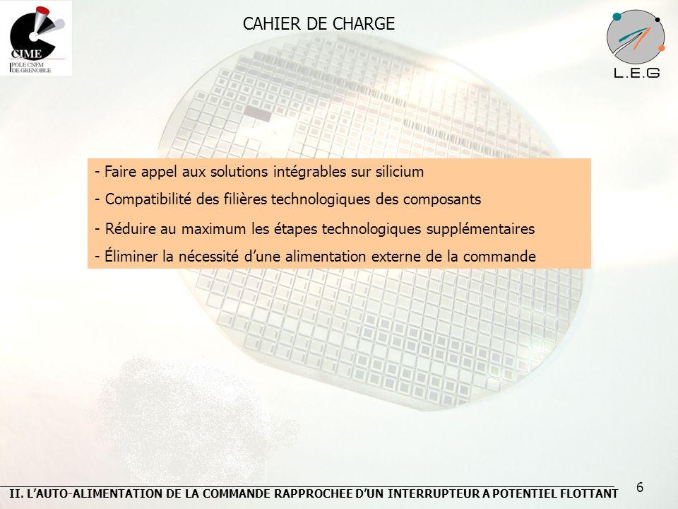 CAHIER DE CHARGE - Faire appel aux solutions intégrables sur silicium