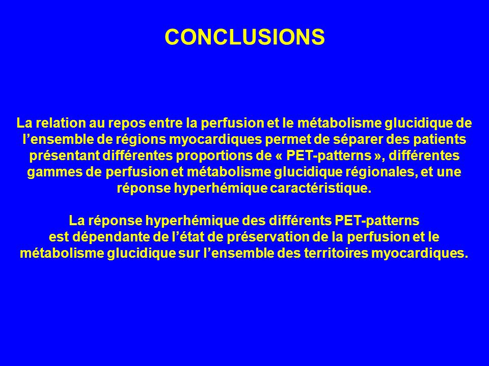 La réponse hyperhémique des différents PET-patterns