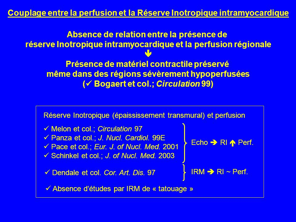 Couplage entre la perfusion et la Réserve Inotropique intramyocardique