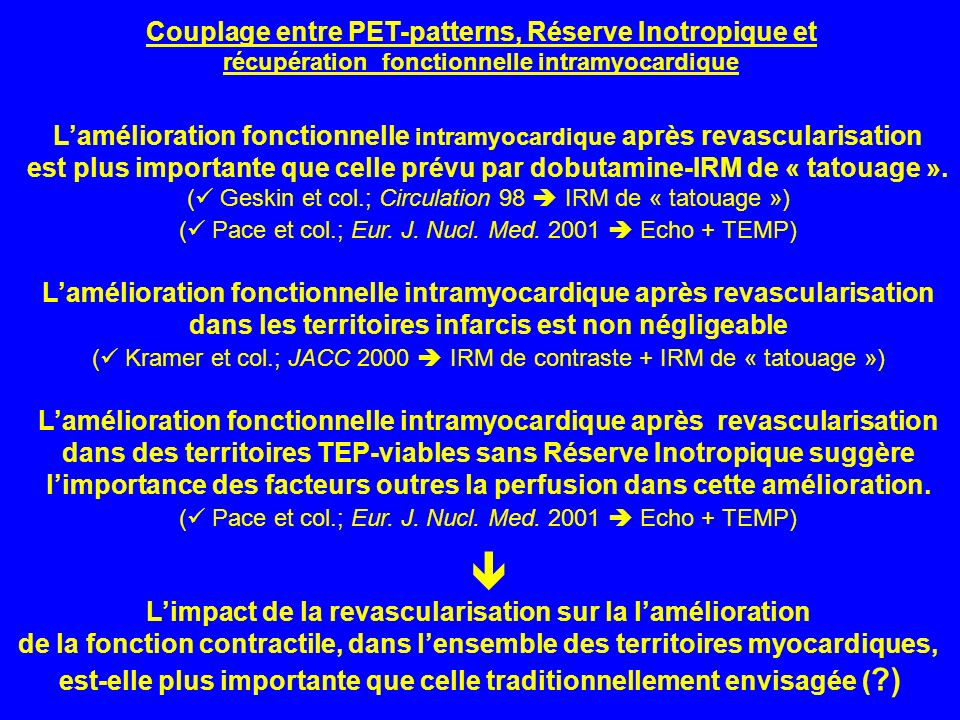  Couplage entre PET-patterns, Réserve Inotropique et
