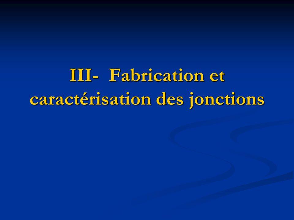 III- Fabrication et caractérisation des jonctions
