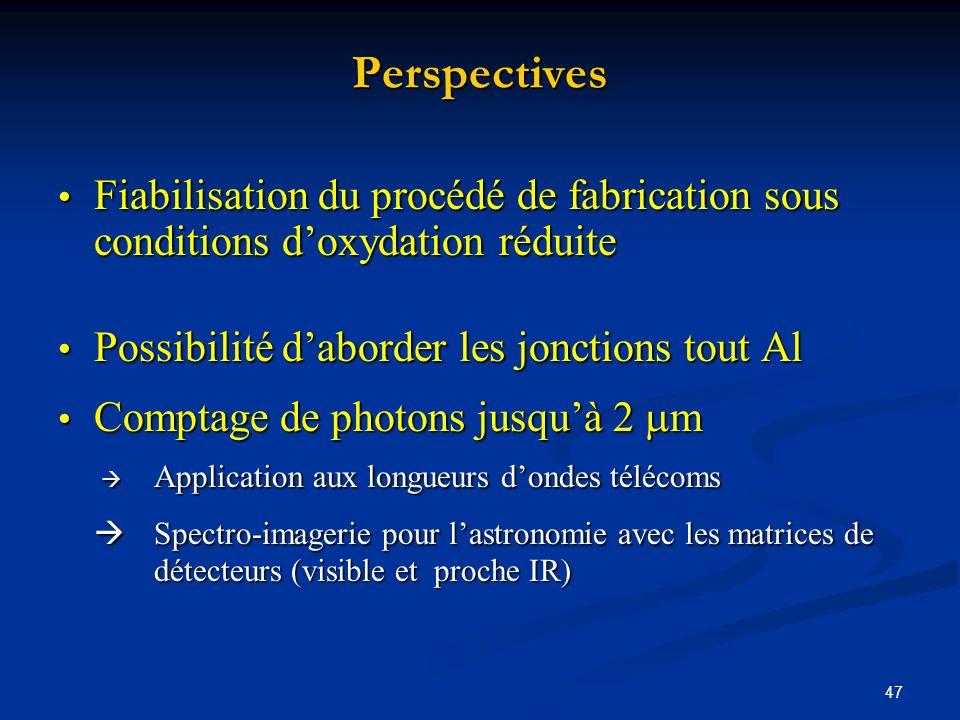 Perspectives Fiabilisation du procédé de fabrication sous conditions d'oxydation réduite. Possibilité d'aborder les jonctions tout Al.