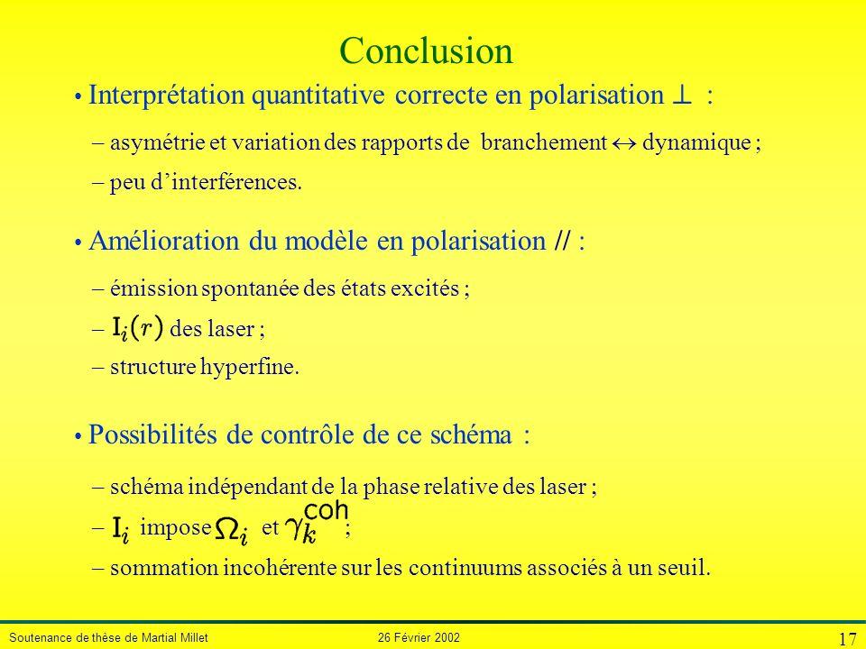 Conclusion Interprétation quantitative correcte en polarisation ^ :