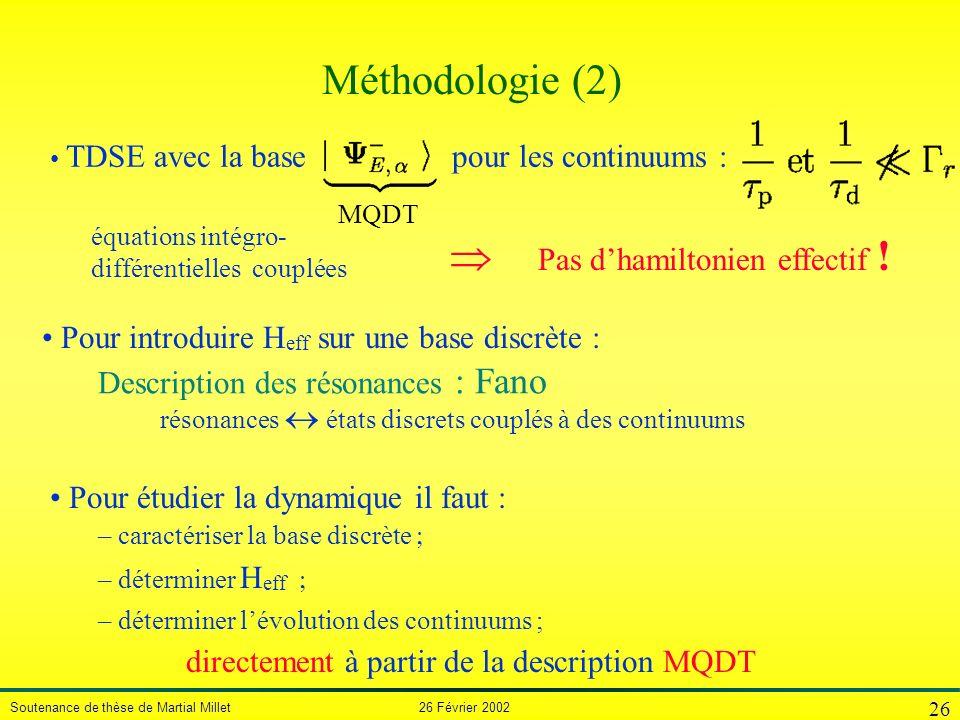 Méthodologie (2)  Pas d'hamiltonien effectif !