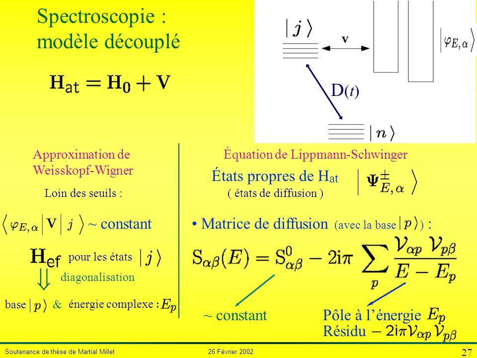 Spectroscopie : modèle découplé