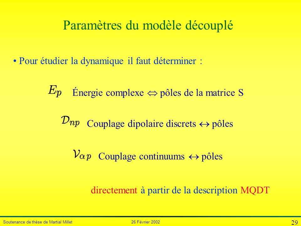 Paramètres du modèle découplé