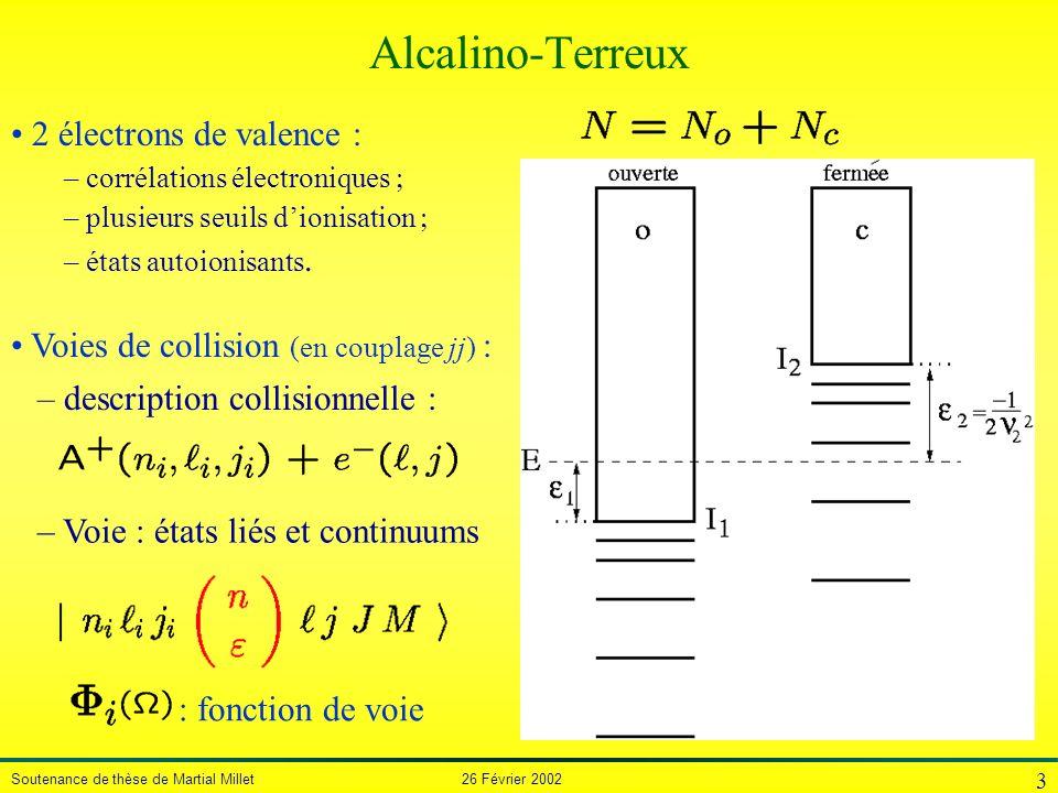 Alcalino-Terreux 2 électrons de valence :