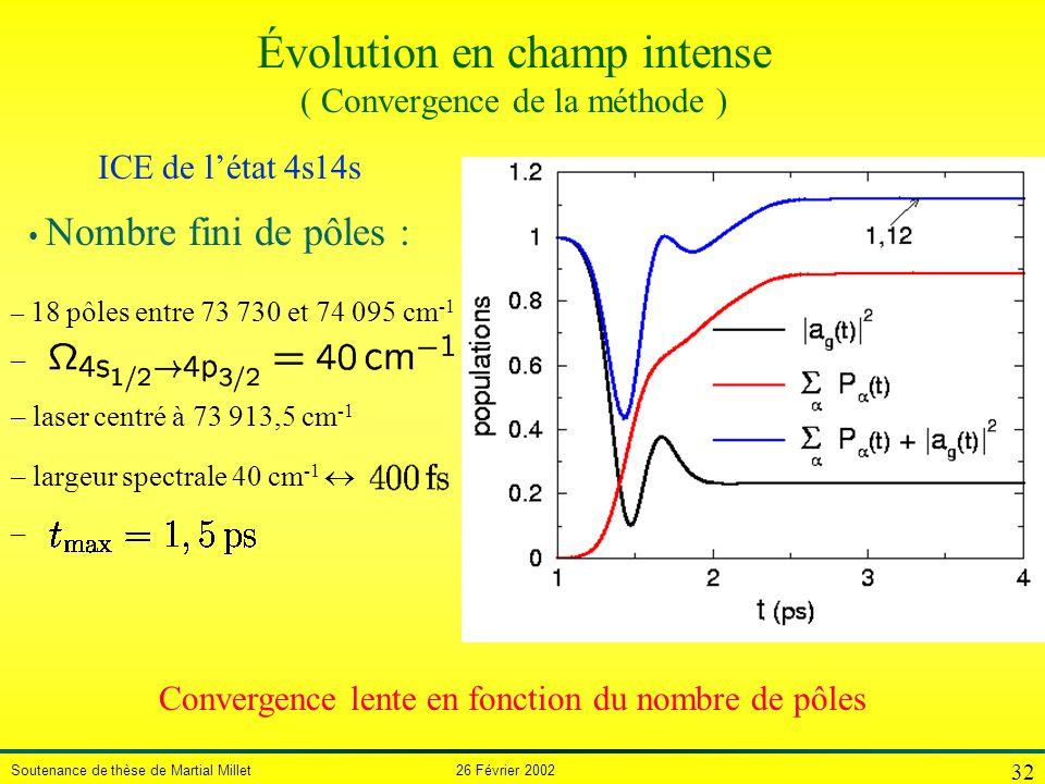 Évolution en champ intense ( Convergence de la méthode )