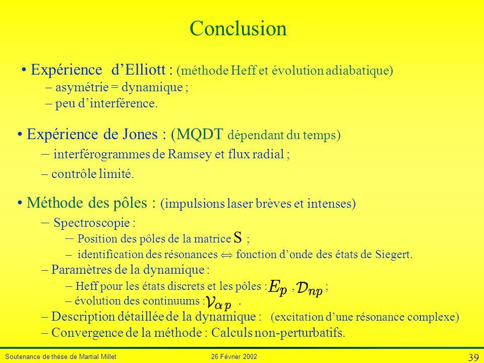 Conclusion Expérience d'Elliott : (méthode Heff et évolution adiabatique) asymétrie = dynamique ;