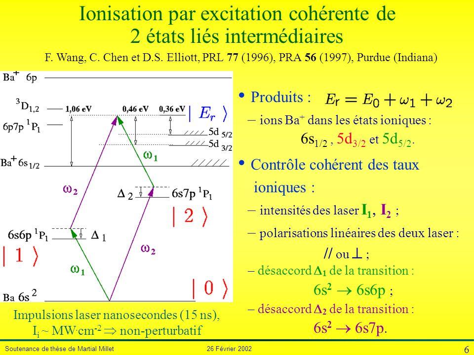 Ionisation par excitation cohérente de 2 états liés intermédiaires