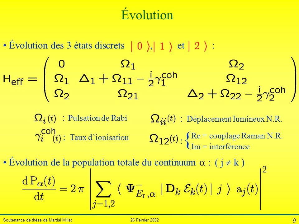 { Évolution Évolution des 3 états discrets , et : : Pulsation de Rabi