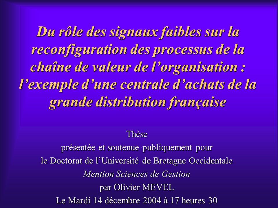 Du rôle des signaux faibles sur la reconfiguration des processus de la chaîne de valeur de l'organisation : l'exemple d'une centrale d'achats de la grande distribution française