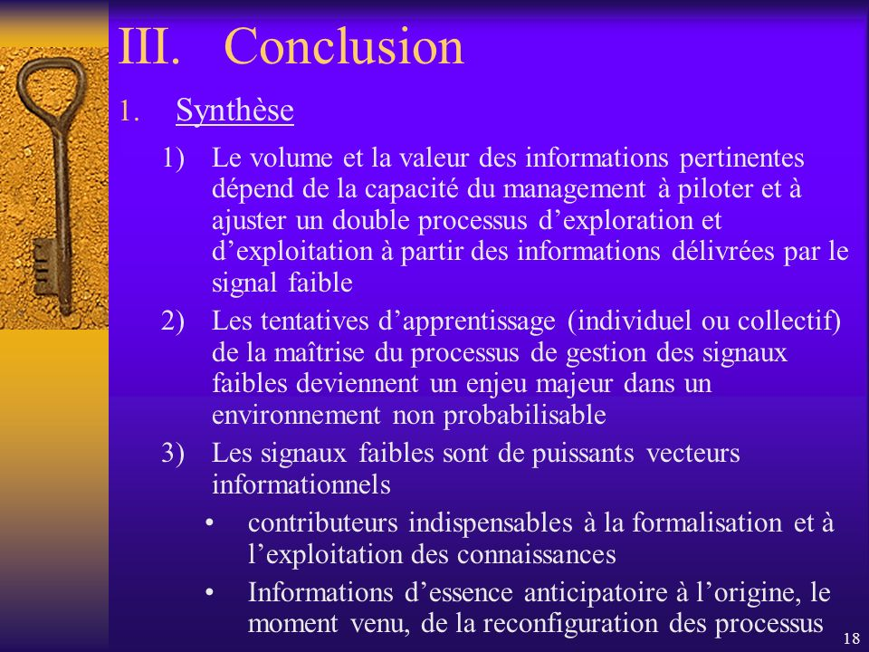 Conclusion Synthèse.