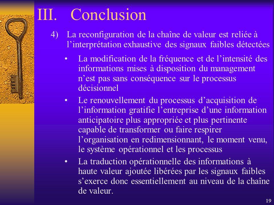 Conclusion La reconfiguration de la chaîne de valeur est reliée à l'interprétation exhaustive des signaux faibles détectées.