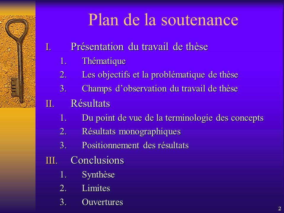 Plan de la soutenance Présentation du travail de thèse Résultats