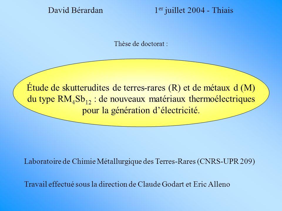 David Bérardan 1er juillet 2004 - Thiais. Thèse de doctorat :
