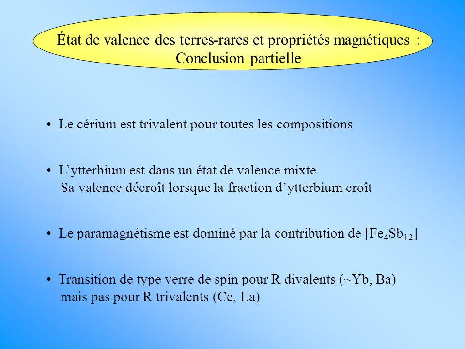 État de valence des terres-rares et propriétés magnétiques : Conclusion partielle