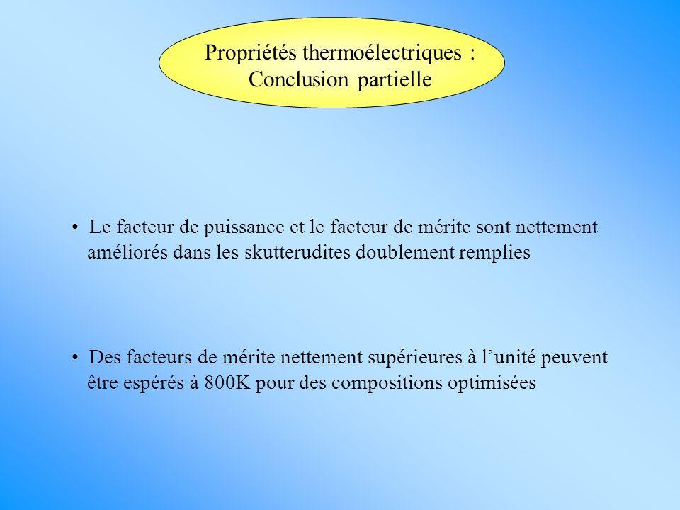 Propriétés thermoélectriques : Conclusion partielle